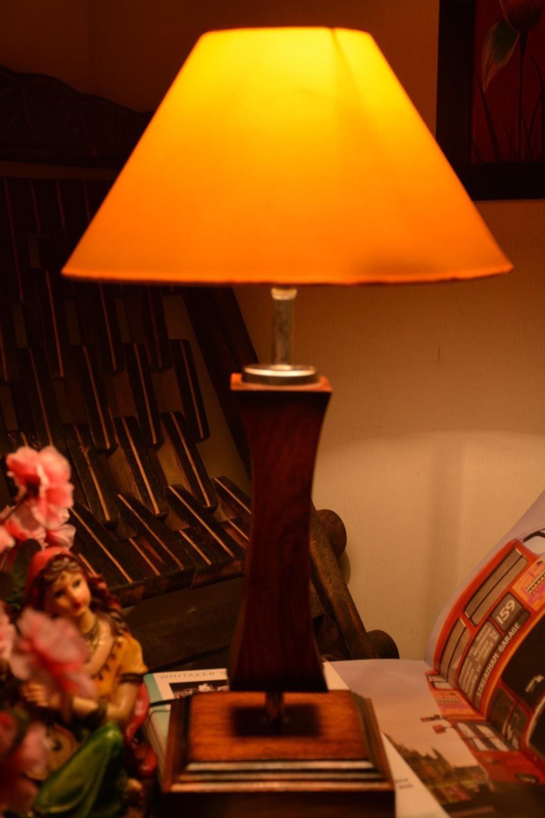 Yashasvi Yashasvi Wooden Lamp With Yellow Shade Table Lamp Price In