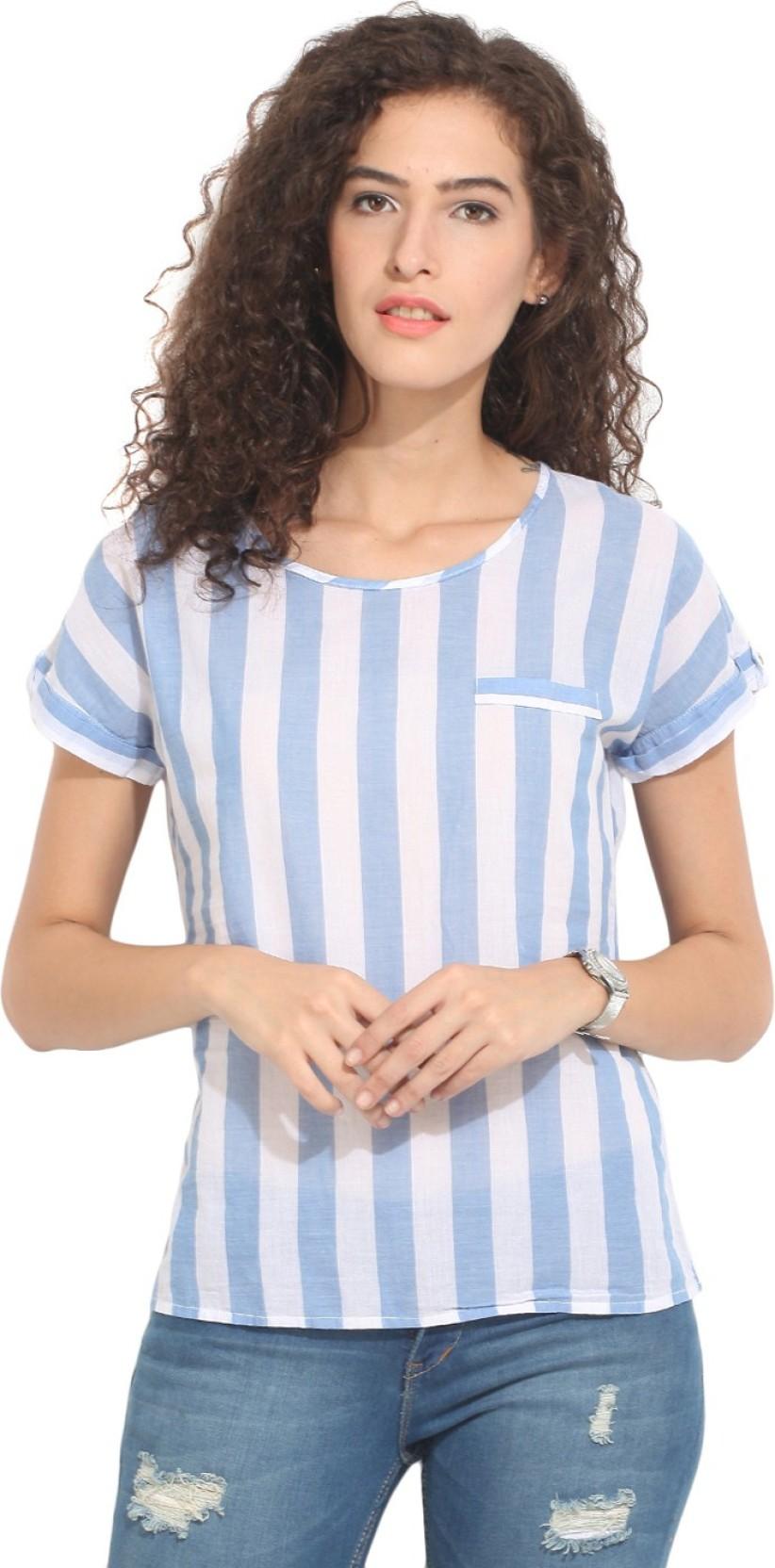 75f398c7f0db79 Hook & Eye Casual Short Sleeve Striped Women's Blue, White Top - Buy ...