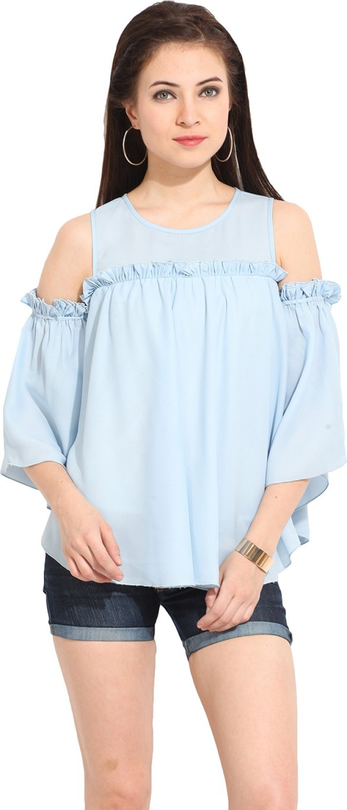 3ed6b07aff80f2 Ridress Casual Short Sleeve Solid Women's Blue Top - Buy Blue ...