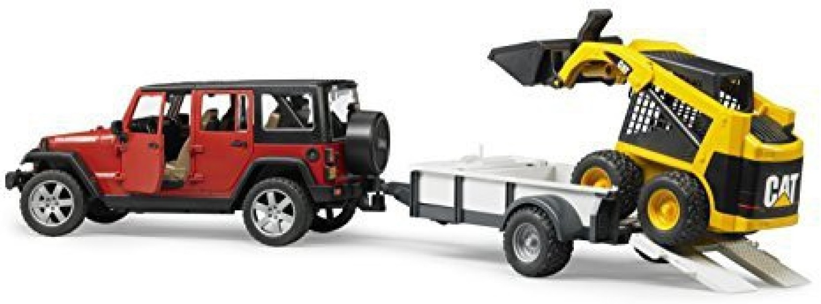 Bruder Toys Jeep Wrangler Unlimited Rubicon With Trailer And Cat Construction Home