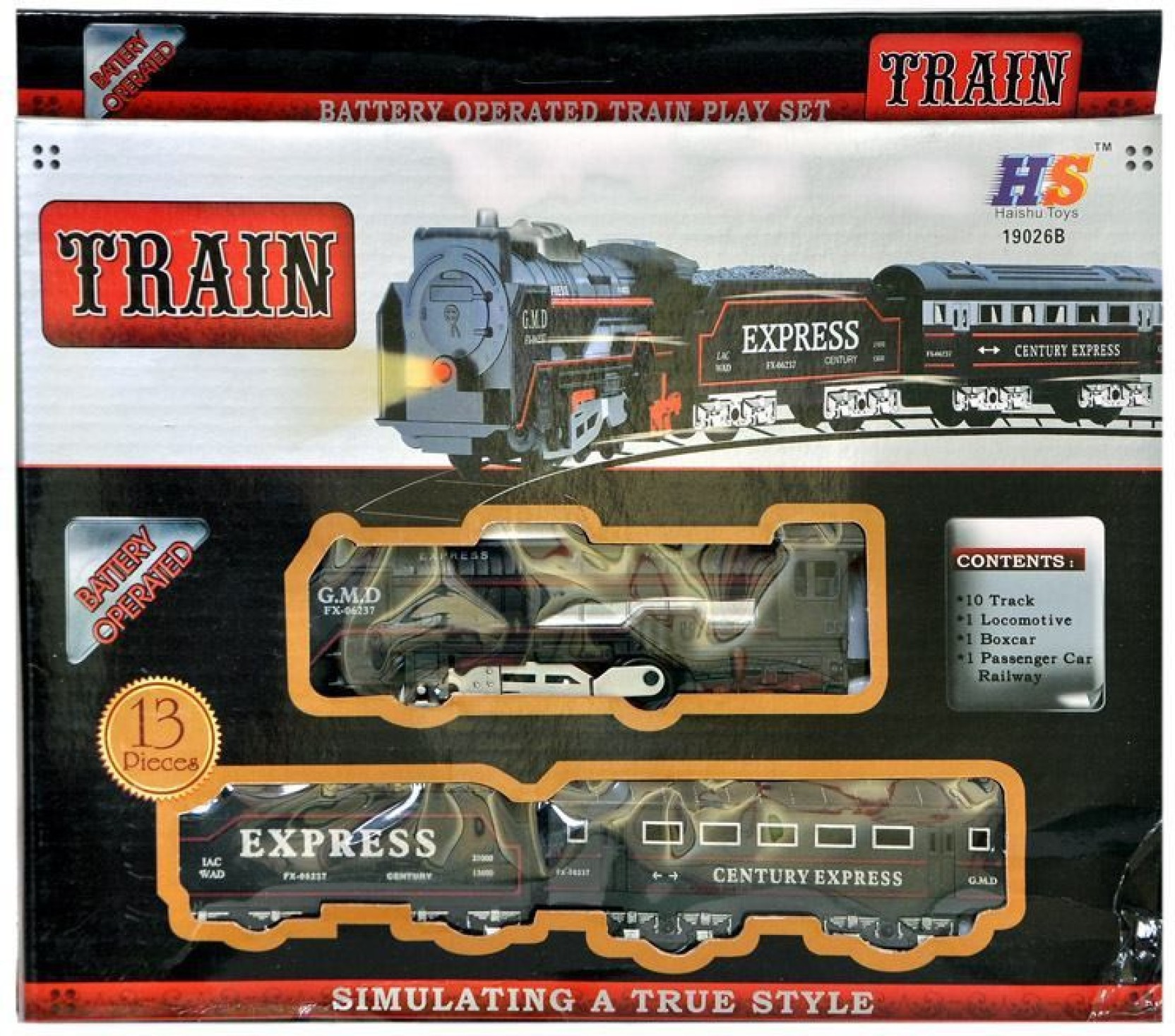 Turban Toys Battery Operated Black Train With Headlight Head Lights For Model Trains On Offer