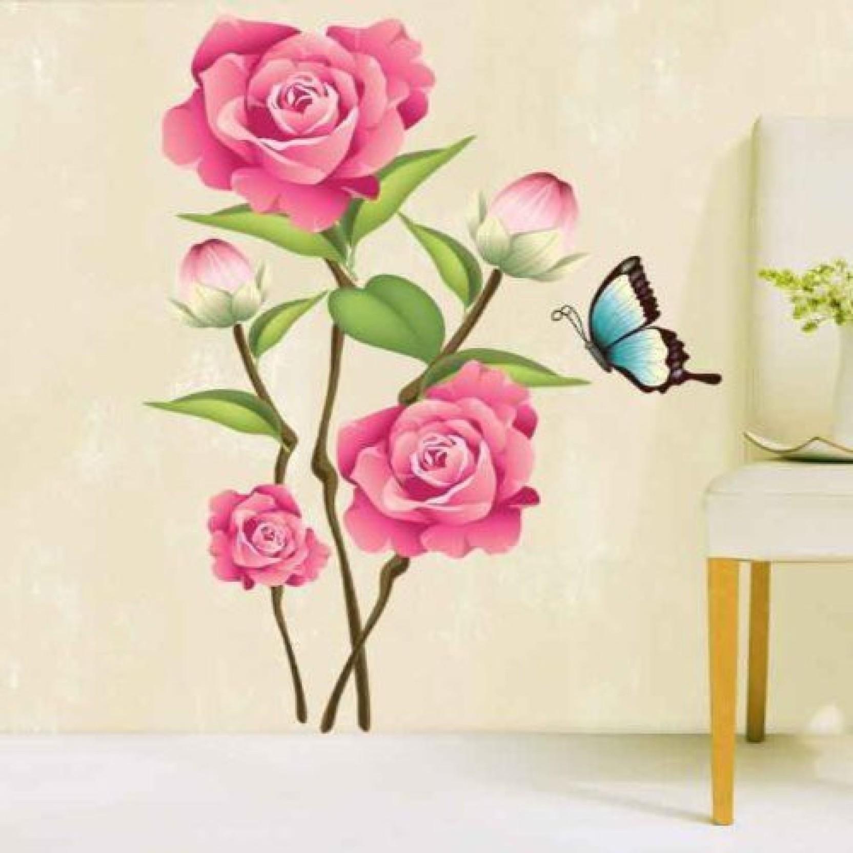 Happy Walls Pink Rose Flower Bunch Art Price In India Buy Happy