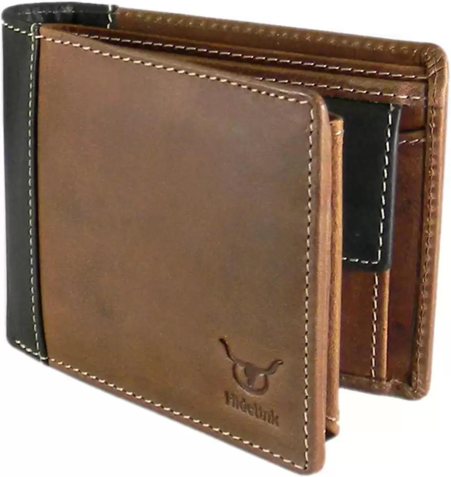 Hidelink Men Formal Brown Genuine Leather Wallet Brown ...