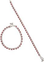 Taj Pearl Elegant Red Brass Anklet(Pack of 2)