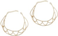 Fabula Gold Wave Metal Anklet(Pack of 2)