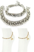 Charms Combo of Ethenic Kundan Studed Alloy Anklet(Pack of 4)