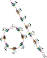Taj Pearl Crystal Dazzling Traditional Brass Anklet