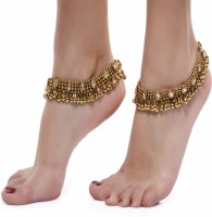 Charms Golden Ethnic Antique Kundan Studded Alloy Anklet(Pack of 2)
