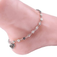 Charms Heart Shaped Floral Beauty Alloy Anklet