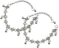 Fabula Antique Silver Floral Traditional Ethnic Jewellery for Women, Girls & Ladies Metal Anklet(Pack of 2)