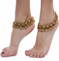 Shining Diva Antique Look Kundan Pair Alloy Anklet(Pack of 2)