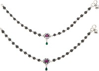 Siri Creations Rose With Stones Dropings 92.5 Silver Anklet(Pack of 2)