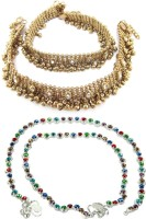 Charms Combo Of Ethenic Diva Precious Alloy Anklet(Pack of 4)