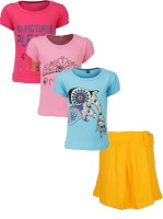Gkidz Girls Casual T-shirt Skirt(Multicolor)