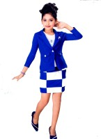 Hey Baby Girls Party(Festive) Blazer Skirt(Blue)