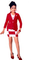 Hey Baby Girls Party(Festive) Blazer Skirt(Red)