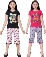 Sinimini Kids Nightwear Girls Printed Cotton(Multicolor)