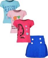 Gkidz Girls Casual T-shirt Skirt(Multicolor)