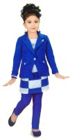Hey Baby Girls Party(Festive) Coat Skirt, Pant(Blue)