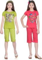 Sinimini Kids Nightwear Girls Cotton(Multicolor)
