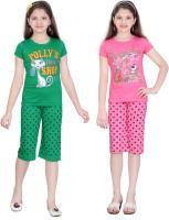 Sini Mini Kids Nightwear Girls Cotton(Multicolor)
