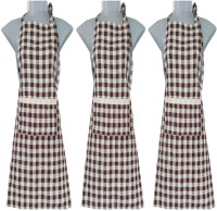VKE Product Blended Home Use Apron - Large(Brown, Grey, Pack of 3)
