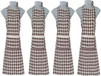 VKE Product Blended Home Use Apron - Large(Brown, Pack of 4)