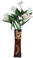 Orchard Multicolor Lily Artificial Flower  with Pot(20 inch, Pack of 1)