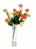 Orchard Orange, Beige Carnations Artificial Flower  with Pot(15 inch, Pack of 1)