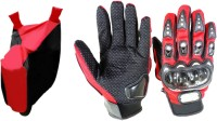 Gking Red & Black Bike Body Cover With Red Probiker Full Gloves Combo