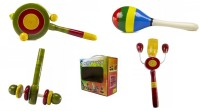 CeeJay Set of 4 Colorful Wooden Baby Toys:Model RA-OW007 Rattle(Multicolor)