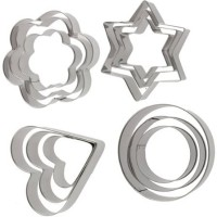 Tag3 Stainless Steel 4 Shapes Cookie Cutter(Pack of 12)