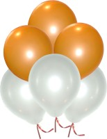 GrandShop Solid GS50344 Balloon(Orange, White, Pack of 50)