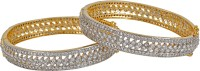 alysa Silver, Alloy, Brass Cubic Zirconia Rhodium, Gold-plated Bangle Set(Pack of 2)