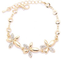 WearYourFashion Alloy Crystal Gold-plated Bracelet