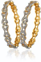 alysa Silver, Alloy Cubic Zirconia Rhodium, Gold-plated Bangle Set(Pack of 2)