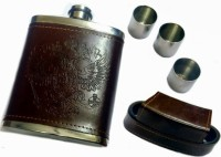 Star Magic Leatherette Hip Flask with In-built 3 Shot Glasses 4 - Piece Bar Set(Stainless Steel)