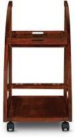 HomeTown Solid Wood Bar Trolley(Finish Color - Rich Brown)