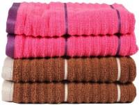 Casa Copenhagen GSM Hand Towel(Pack of 4, Brown, Pink)