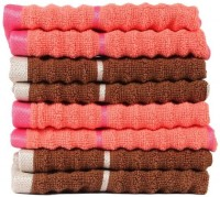 Casa Copenhagen GSM Face Towel(Pack of 8, Brown, Orange)
