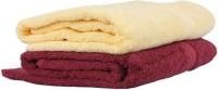 Ruchi World Cotton 400 GSM Bath Towel Set(Pack of 2, Maroon, Beige)