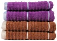 Casa Copenhagen GSM Hand Towel(Pack of 4, Brown, Purple)
