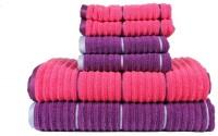 Casa Copenhagen GSM Bath, Hand Towel Set(Pack of 6, Pink, Purple)