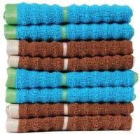 Casa Copenhagen GSM Face Towel(Pack of 8, Brown, Blue)