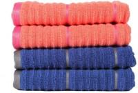 Casa Copenhagen GSM Hand Towel(Pack of 4, Orange, Blue)