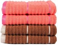Casa Copenhagen GSM Hand Towel(Pack of 4, Brown, Orange)