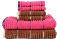 Casa Copenhagen GSM Bath, Hand Towel Set(Pack of 6, Brown, Pink)