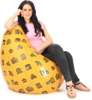 View Can Bean Bag XXL Bean Bag  With Bean Filling(Orange, Black) Price Online(Can Bean Bag)