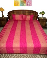 Amita Home Furnishing Silk Queen Bed Cover(Pink)