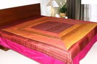 Coco Bee Silk Double Bed Spread(Pink, Orange)